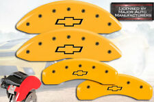 """2000-2006 Chevy Tahoe Front + Rear Yellow MGP Brake Disc Caliper Covers """"Bowtie"""""""