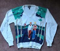 Vintage 80s Golden Bear Jack Nicklaus Golf Sweater ~ Men's Size XL