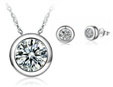 925 Silver Crystal Round Pendant Necklace Earrings Set Women Fashion Jewelry