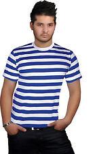 New Mens Boys Stripped Top Shirt Fancy Dress short Sleeve Cotton Stripe T-shirts