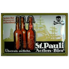 SAINT PAULI ACTIEN BEER,  EMBOSSED METAL (STEEL) ADVERTISING SIGN 30x20cm PUB