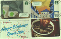 STARBUCKS TIM HORTONS X4 GIFT CARD RECHARGEABLE BILINGUAL !