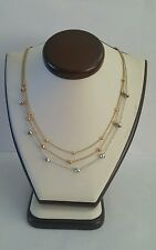 14k Gold Tri-Color Rose White Yellow Gold 3 Strand whit Beds Necklace