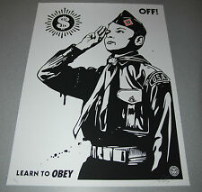 Learn to Obey OFF Shepard Fairey Poster Giant Print Signed Numbered 2014 vinyl