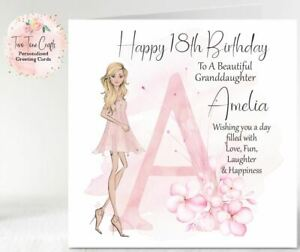 Personalised Birthday Card 16th 18th 21st Granddaughter Sister Niece, Any Age