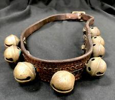 Antique Brass Christmas Santa Reindeer Jingle Bells Collar