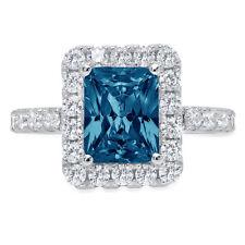 Promise Bridal Wedding Ring 14k White Gold 3.9 ct Emerald Halo London Blue Topaz
