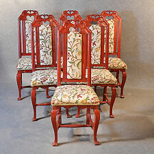 Antique Set Six 6 Continental Painted Kitchen Dining Chairs Needlepoint c1850