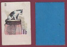 Carte à jouer ancienne XIXe - 301113 - 2 chat tonneau barrique