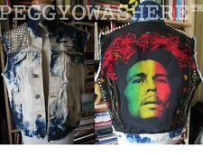 VTG DENIM cutoff DISTRESSED JACKET vest Bob Marley hippie batik STUD MOTO rasta