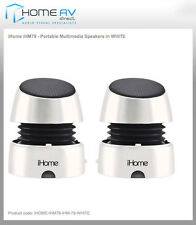 iHome IHM79 White iPOD iPhone Android PC Portable Speakers Rechargeable Speakers
