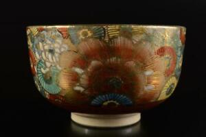 L888: Japan XF Satsuma-ware Flower pattern TEA BOWL Green tea tool, Jukan made