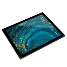 A3 Glass Frame - Blue Teal Turquoise Ink Art Art Gift #2094