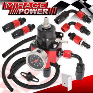 Universal Adjustable Fuel Pressure Regulator Kit 100Psi Gauge Fittings Black Red