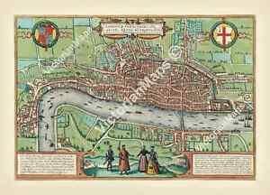 antique Elizabethan Tudor FIRST MAP OF LONDON Braun & Hogenberg 1572 art poster