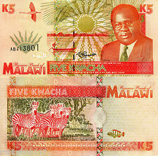 MALAWI 5 Kwacha Banknote World Paper Money Currency Africa p30 Note 1995 Bill