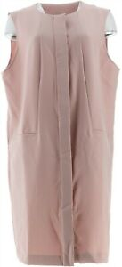 Martha Stewart Button Front Long Vest Pockets Dusty Rose 2X NEW A342444