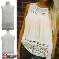 Summer Womens T Shirt Sleeveless Vest Tank Tops Loose Casual Ladies Lace Blouse