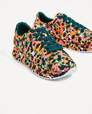 Amazing ZARA Printed Satin Sneakers; multicolor/leopard