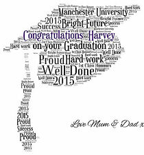 Personalised Mortar Board  Graduation Hat  Word Art Print ANY Colours