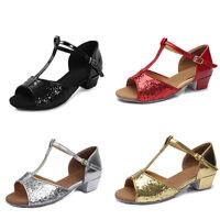 Brand New Women Children Girl's Ballroom Latin Tango Dance Shoes heeled Salsa205