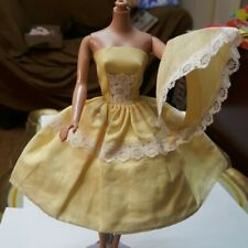 Old Vintage Tressy Barbie Doll Suprise Party Yellow Dress Scarf Hat Lot