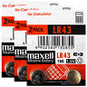 6 x Maxell Alkaline LR43 186 batteries * 1.5V 1176A AG12 Calculator Pack of 2 *
