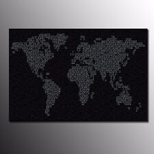 FRAMED Canvas Print Poster Black World Map Painting Wall Art for Home Decoration