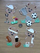 4 Large GOLF FOOTBALL CRICKET & RUGBY Bear Handmade MEN's Card Toppers
