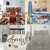 Retro Home Panel Printed Vintage Quilt Doona Cover Set SINGLE DOUBLE QUEEN KING