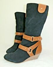 Matt Bernson Womens Size 6.5 Leather Suede Boots Special Project Black Brown