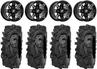 "Sedona Rukus 14"" Wheels Black +30mm 32"" Mudda Inlaw Tires RZR XP 1K / PRO XP"