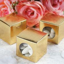 """Gold Round Window 100 pcs Wedding FAVOR BOXES 2"""" x 2"""" Party Decorations SALE"""