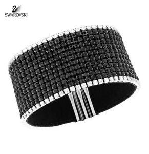 Swarovski Jet Black & Clear Crystals BEST Bracelet Wide Medium -5102540 New