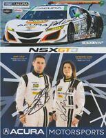 2017 Michael Shank Racing #93 Acura NSX signed Petit Le Mans IMSA WTSC postcard