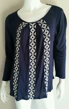 LUCKY BRAND Navy Blue White Embroidered Pleated Blouse Shirt Top - Size M