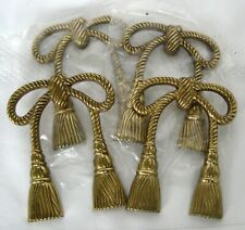 2 Pair Solid Brass Bow Rope Tassel Tie Back Drapery Curtain Set Hold back