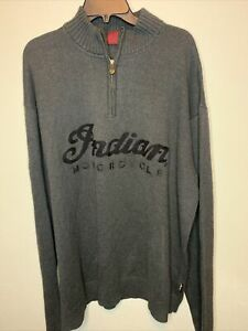Indian Motorcycle Knitted Cotton Sweater Pullover Dark Grey- Men's 2XL