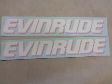 """EVINRUDE DECAL PAIR ( 2 ) RED / WHITE 13"""" X 2"""" MARINE BOAT"""
