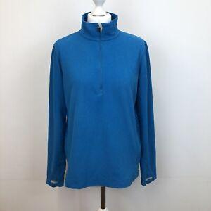 Ladies Rohan Microgrid Stowaway 1/2 Zip Fleece Jumper Pullover Blue Sz M