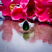 Fantastic Chrome Diopside Gemstone 925 Sterling Silver Handmade Ring All Size