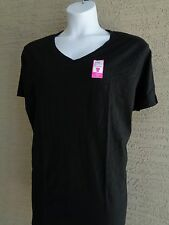 NWT Just My Size Cotton Jersey  V Neck Shirt Tail Bottom Tee Black 3X