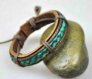 C28 Adjustable Surfer Cool Leather & Hemp Wristband Bracelet Bangle Fabric Green
