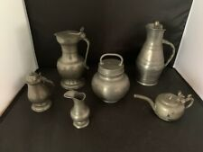 6 pieces 19th century pewter vessels varying sizes and hallmarks