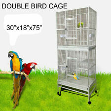"30""x18""x75"" ; Double cage Parrot Macaw Canary Finch Breeding Bird cage"
