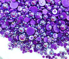 800 Pc AB Dark Purple Flatback Round Half Faux Pearls Beads DIY Crafts Nail Art