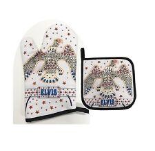 Elvis Presley Oven Mitt/Pot Holder Set White Jumpsuit, NEW