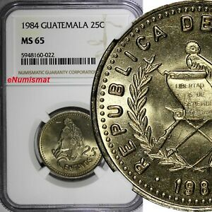 Guatemala 1984 25 Centavos NGC MS65 TOP GRADED BY NGC KM# 278.3 (022)