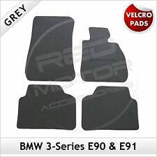 BMW 3-Series E90 E91 2005-2013 Velcro Pads Tailored Fitted Carpet Car Mats GREY