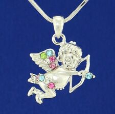 "Made With Swarovski Crystal Angel Cupid Arrow Multi Color Pendant 18"" Chain"
